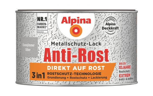 Alpina Metallschutz Eisenglimmer Anti Rost Silber 300ml