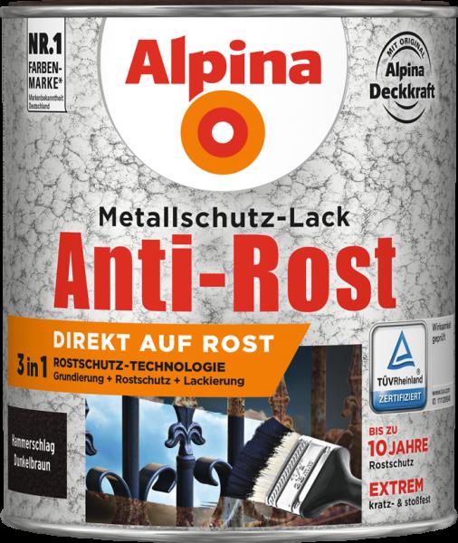 Alpina Metallschutz Hammerschlag Anti Rost Dunkelbraun 750ml